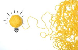 yellow yarn that makes a lightbulb shape