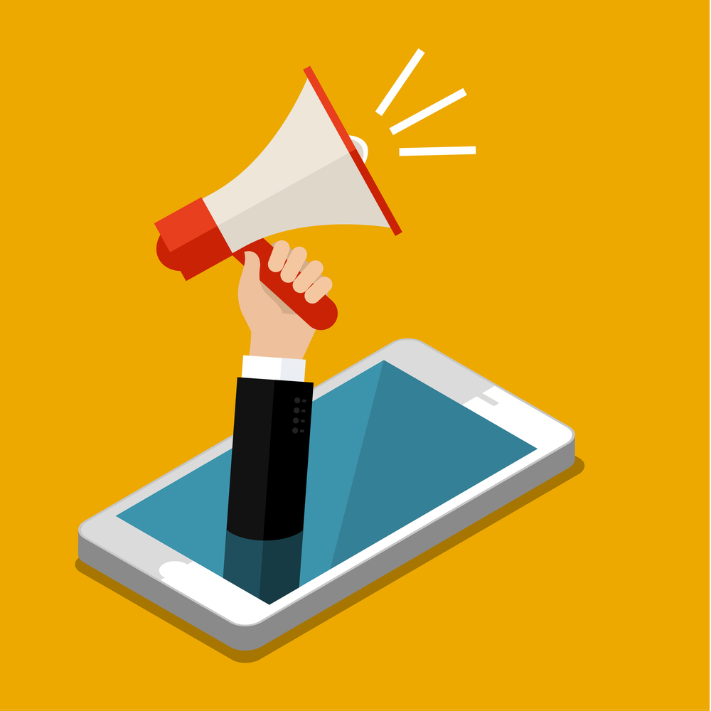 illustration of a hand lifting a megaphone out of a smartphone screen